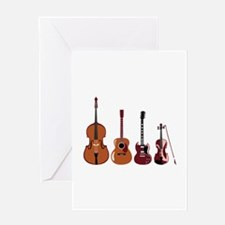 Bass Guitars and Violin Greeting Cards