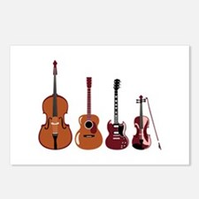 Bass Guitars and Violin Postcards (Package of 8)