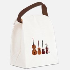 Bass Guitars and Violin Canvas Lunch Bag