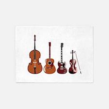 Bass Guitars and Violin 5'x7'Area Rug