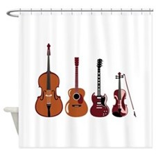 Bass Guitars and Violin Shower Curtain