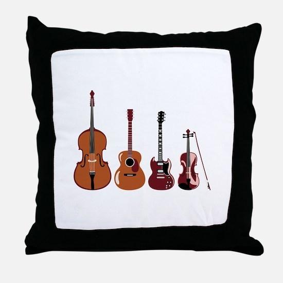 Bass Guitars and Violin Throw Pillow