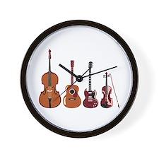 Bass Guitars and Violin Wall Clock