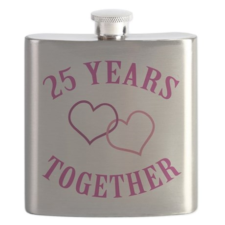 25th Anniversary Two Hearts Flask