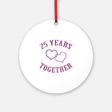 25th Anniversary Two Hearts Ornament (Round)