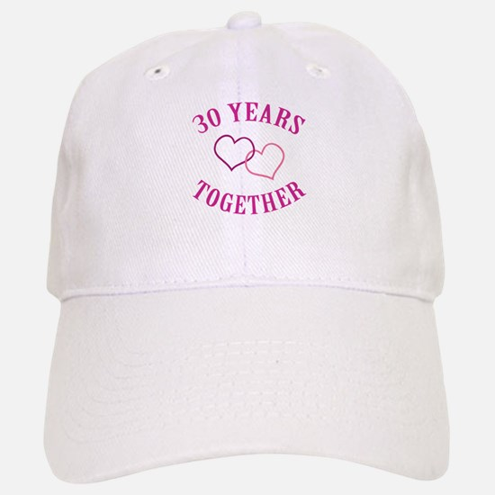30th Anniversary Two Hearts Baseball Baseball Cap