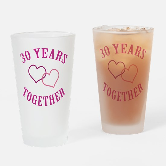 30th Anniversary Two Hearts Drinking Glass