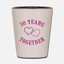 30th Anniversary Two Hearts Shot Glass