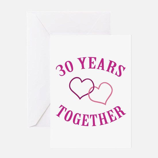 30th Anniversary Two Hearts Greeting Card