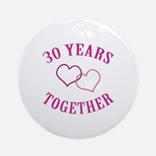 30th Anniversary Two Hearts Ornament (Round)