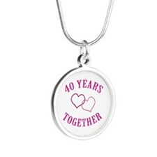 40th Anniversary Two Hearts Silver Round Necklace