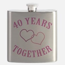 40th Anniversary Two Hearts Flask