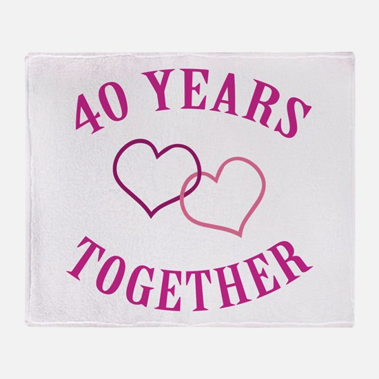 40th Anniversary Two Hearts Throw Blanket