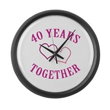 40th Anniversary Two Hearts Large Wall Clock
