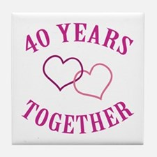 40th Anniversary Two Hearts Tile Coaster