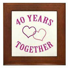 40th Anniversary Two Hearts Framed Tile