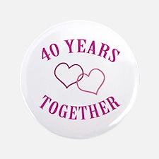 "40th Anniversary Two Hearts 3.5"" Button"