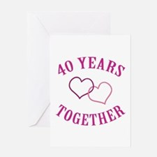 40th Anniversary Two Hearts Greeting Card