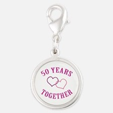 50th Anniversary Two Hearts Silver Round Charm