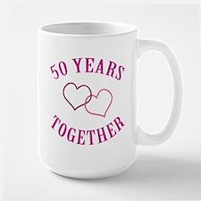 50th Anniversary Two Hearts Large Mug