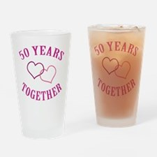 50th Anniversary Two Hearts Drinking Glass
