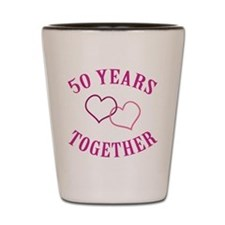 50th Anniversary Two Hearts Shot Glass