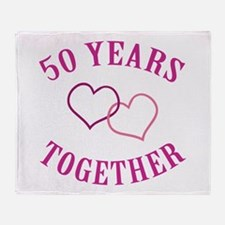 50th Anniversary Two Hearts Throw Blanket
