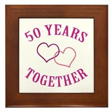 50th Anniversary Two Hearts Framed Tile