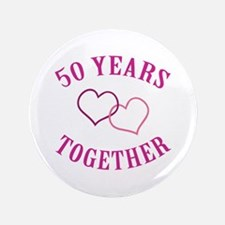 "50th Anniversary Two Hearts 3.5"" Button"