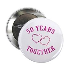 "50th Anniversary Two Hearts 2.25"" Button"