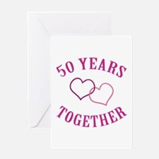 50th Anniversary Two Hearts Greeting Card