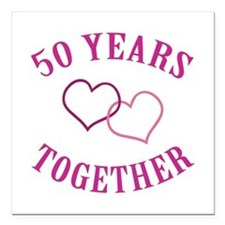 "50th Anniversary Two Hearts Square Car Magnet 3"" x"