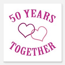 """50th Anniversary Two Hearts Square Car Magnet 3"""" x"""