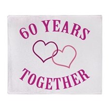 60th Anniversary Two Hearts Throw Blanket