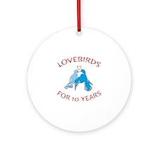10th Anniversary Lovebirds Ornament (Round)