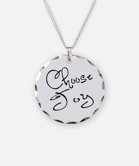 Choose Joy Necklace Circle Charm