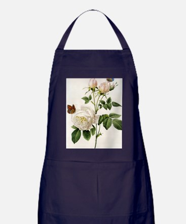 vintage botanical art. white rose flo Apron (dark)