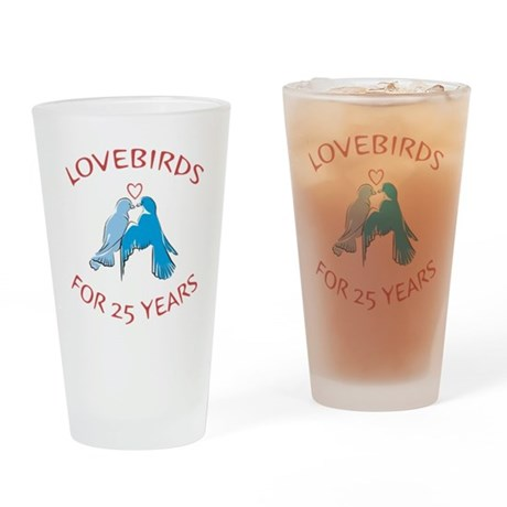 25th Anniversary Lovebirds Drinking Glass