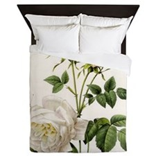 vintage botanical art. white rose flow Queen Duvet