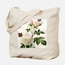 vintage botanical art. white rose flower  Tote Bag