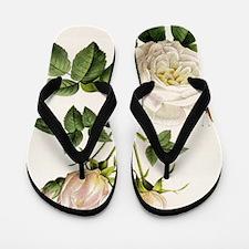 vintage botanical art. white rose flowe Flip Flops