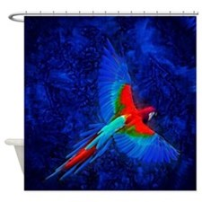 Blue Winged Macaw Shower Curtain