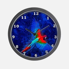 Blue Winged Macaw Wall Clock