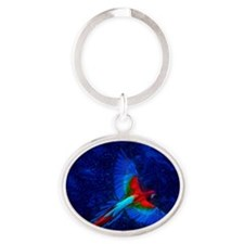 Blue Winged Macaw Oval Keychain