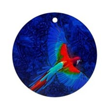 Blue Winged Macaw Ornament (Round)