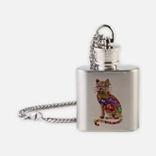 Patchwork Cat Flask Necklace