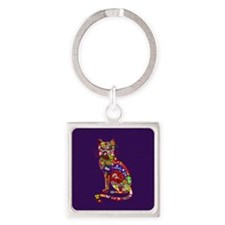 Patchwork Cat Square Keychain