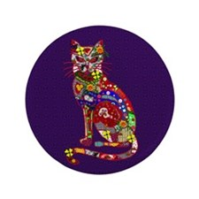 "Patchwork Cat 3.5"" Button"