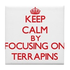 Keep calm by focusing on Terrapins Tile Coaster