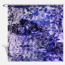 Blue Rustic Old Birch Tree Wooden Texture Shower C